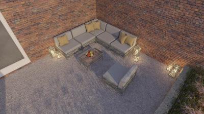 Narożnik mebli ogrodowych MODU wraz z fotel na taras