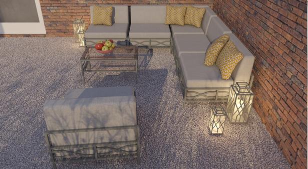 Meble tarasowe Arucas - wizualizacja zestawu w patio